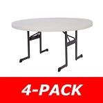 Lifetime Round Folding Tables 480252 Almond Color 60-in Tables 4 Pack