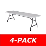 80344 Lifetime 8 Ft Commercial Stacking Folding Table 4 Pack (White Granite)