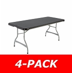 Lifetime Stacking Folding Tables 480350 6-Foot Black Top 4 Pack