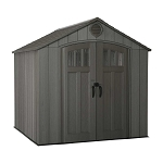Lifetime 60230 Rough Cut Dark Brown 8 ft x 7.5 ft Plastic Woodgrain Outdoor Storage Shed