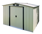 10x10 Eco Shed Ivory with Dark Gray Trim