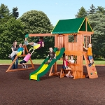 Backyard Discovery 65012com Somerset Wooden Swing Set w/ Playhouse