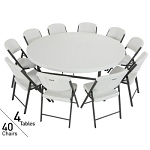 "Lifetime 4 72"" Round Tables + 40 Chairs Package in White"
