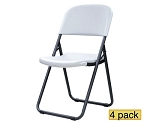 Lifetime Folding Chairs - 80155 White Granite Loop Leg Chair - 4 Pack