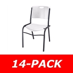Lifetime Stacking Chairs 80184 White Molded Seat - 14 Pack