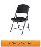 Lifetime Folding Chairs - 80187 Black Colored Seat and Back - 4 Pack