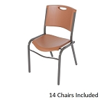 Lifetime Chairs 80192 Brown Stacking Chairs 14 Pack