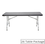Lifetime Folding Tables 880350 Black Stacking 6-Foot 26 Pack
