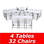 Lifetime 6 Ft Rectangular Tables And Chairs Set (White Granite)