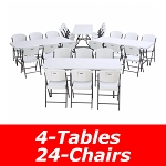 Lifetime 6 Ft Rectangular Tables And Chairs Set 80409 (White Granite)