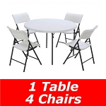 Lifetime 48 In. Round Fold-In-Half Table And Chair Set (White Granite)