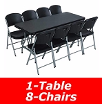 80439 6-Foot Stacking Table and Chair Combo (black)
