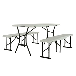 80502 5-Foot Table and Bench Combo (pearl)