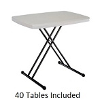 Lifetime 8240 Personal Folding Tables 30 x 20 inch Almond Top 40 Pack