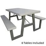 Lifetime A-Frame Bulk 6-Pack Folding Picnic Tables