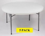 Round Folding Tables - ACT Bm-48r 48 inch Gray Granite Top - 5 Pack