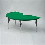 Kidney Shaped Blow Molded Plastic Table + Short Legs Correll Ar4872s