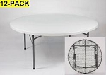 Round Folding Tables - ACT 71 inch Blow-Molded Plastic White Table Top