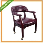 Conference Room Office Chairs - BZ100 Oxblood Vinyl Chair With Wheels