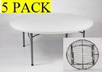 Folding Round Tables - ACT Bm-71 White 71 in. Table Top - 5 Pack