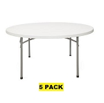 Round Folding Tables - Bt-71r NPS Gray Granite Folding Tables - 5 Pack