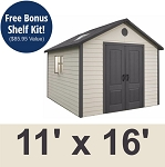 Large Customizable Lifetime Outdoor Storage Shed 11 Foot by 16 Up to 36 Feet!