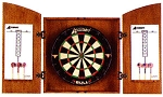 SO Dartboard Cabinet Set - Bull Bristle Dartboard D4213 Wood Veneer