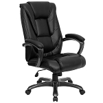 Leather Office Chair - Black High-Back Executive Chair