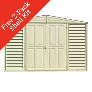 WoodBridge 10.5x13 Vinyl Shed + Foundation Kit