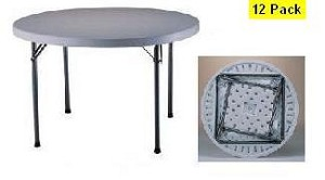 "SO 2969 12 PACK Lifetime 48"" White Granite Round Folding Tables"