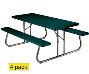 Lifetime Picnic Tables 42123 6 Ft. Hunter Green Folding Frame - 4 Pack