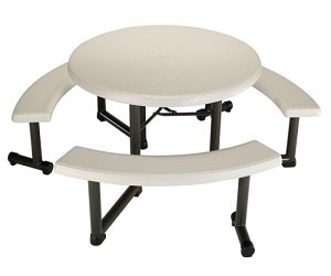 Lifetime Round Picnic Table 2127 22127 44 in Almond Top Swivel Benches