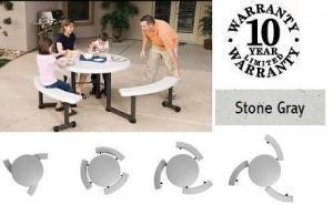 "SO 2128 Lifetime 22128 Round Picnic Table 44"" Stone Gray Top + Benches"