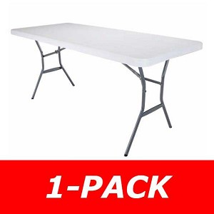 Lifetime Folding 25011 White Granite 6' Portable Fold-in-Half Table
