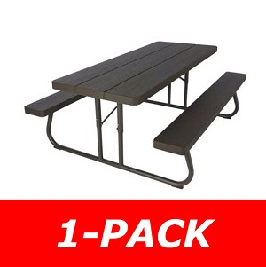 Lifetime Folding Picnic Table 60105 6-Foot Dark Brown Faux Wood