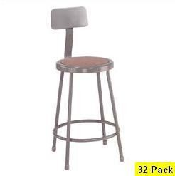 32 Lab Stools With Backrest National Public Seating NPS 6224b 24""