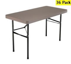 SO 36 PACK Lifetime 2946 4 ft Putty Folding Tables