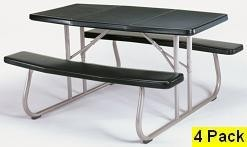 SO 4 PACK Lifetime 2165 5 ft Hunter Green Folding Picnic Table