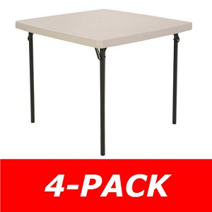 "SO 42301 2301 4 Pack Lifetime 37"" Square Almond Folding Card Tables"