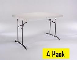 SO Lifetime Products 42640 4 Pack 4 Ft Almond Folding Tables