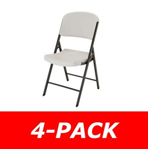 Lifetime Chairs 42803 Plastic Folding Almond 4 Pack