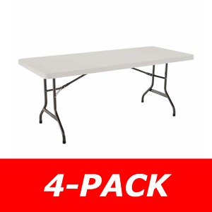 42900 Lifetime 6' Rectangular Tables 4 Pack with Almond Color Top