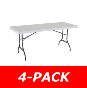 Lifetime 6' Rectangular Tables 4 Pack with White Granite Color Top