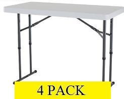 Lifetime Folding Tables - 42941 4 ft. Adjustable  White Granite Table
