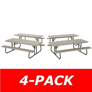 Lifetime Folding Picnic Tables 480123 Putty Color Commercial 8' 4 Pack