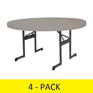 Lifetime Round Folding Tables 480125 Putty Color 60-inch Tables 4 Pack