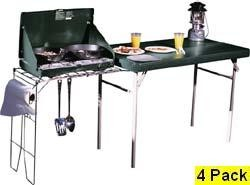 4 48190/8190/38190 Hunter Green Camping Portable Tables + Stove Rack