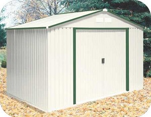 50212 Del Mar 10x8 Metal Shed with Foundation - Green Trim