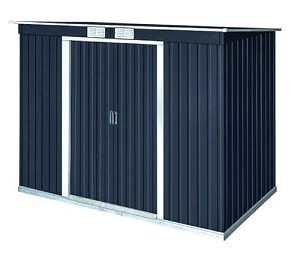 8x4 Pent Roof Shed Dary Gray with Off-White Trim