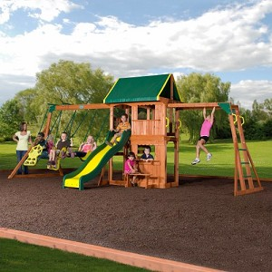 Prairie Ridge Large Wooden Play Set 55006com Playhouse and Monkey Bars